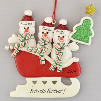 Personalized Snowmen (3) in Sleigh Christmas Ornaments