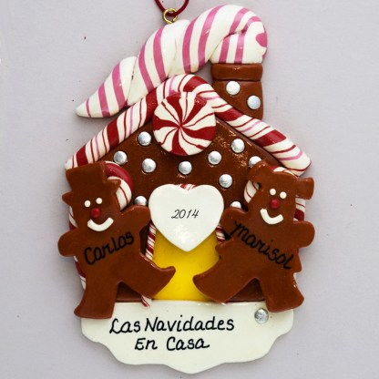 Gingerbread Home for the Holidays personalized christmas Ornaments
