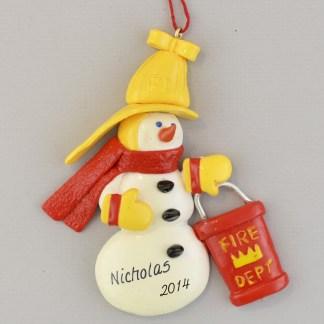 Fireman Snowman Personalized Christmas Ornaments