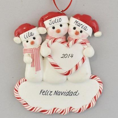 Family of Three Snowmen Feliz Navidad personalized christmas Ornaments