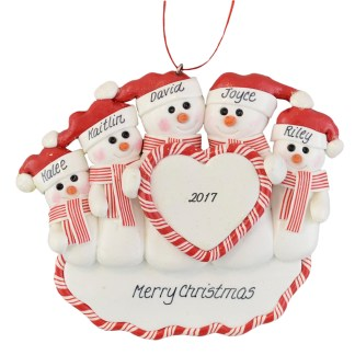 Family of Snowmen (5) heart personalized christmas ornaments