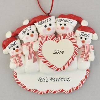 Family of Five Snowmen Feliz Navidad personalized christmas Ornaments