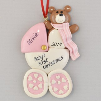 Personalized Baby Carriage Pink Christmas Ornaments
