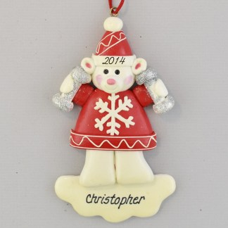 Weightlifter Bear personalized christmas Ornaments