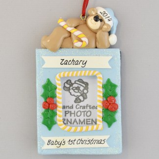 Personalized Photo Frame Baby boy's First Christmas Ornaments