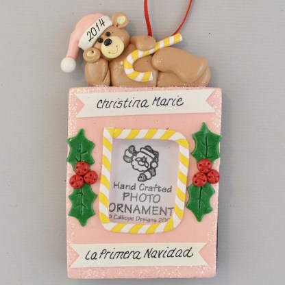 La Primera Navidad de Bebe Girl's Photo personalized Christmas Ornaments