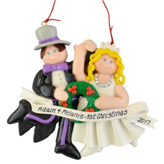 Bride and Groom blonde wedding personalized christmas ornaments