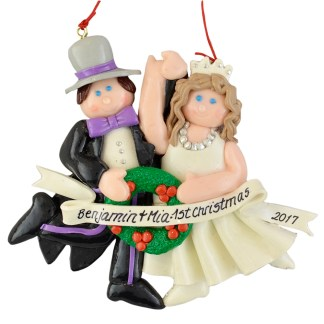 Bride and Groom Brunette wedding personalized christmas ornaments