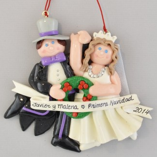 Bride (Brunette) and Groom Primera Navidad personalized christmas Ornaments