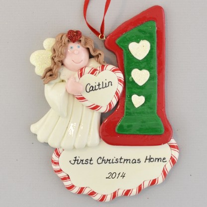 Adopted Daughter's (Brunette) personalized First Christmas Home Ornaments