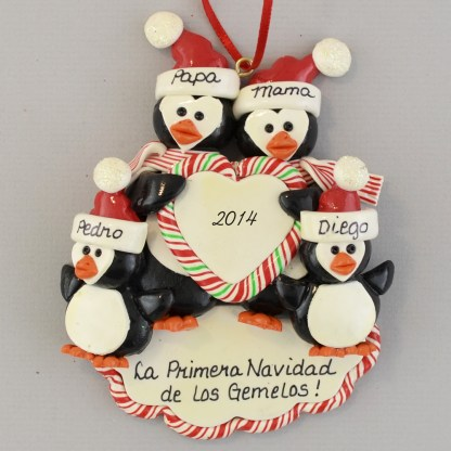 penguin Twin's First personalized Christmas Ornaments