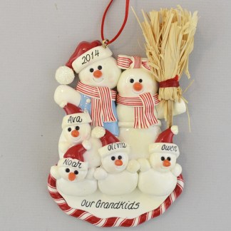 Personalized Snowman Family of 6 Christmas Ornaments