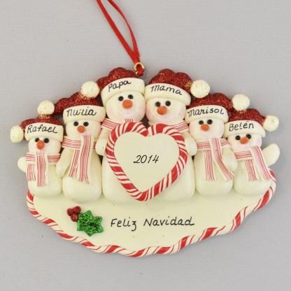 Family of Six Snowmen Feliz Navidad personalized christmas Ornaments