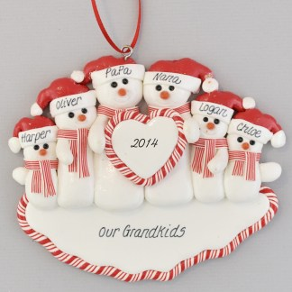 Gramps and Granny Snowcouple with Four Grandchildren Personalized christmas Ornaments