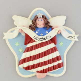 Angel USA Brunette personalized christmas Ornaments