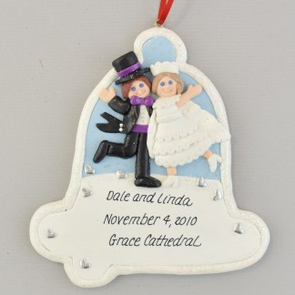 Our First Christmas as Mr. and Mrs. Wedding Bell Ornament - Brunette