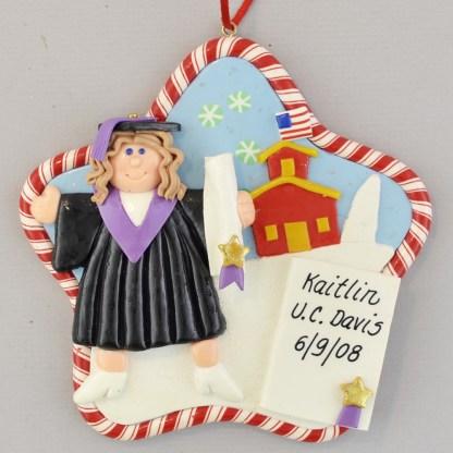 Graduation Girl Personalized Christmas Ornaments