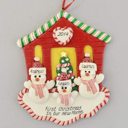 First Christmas New House for Three personalized christmas Ornaments
