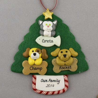 Three Pets on Tree Personalized Christmas Ornament