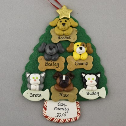 Six Pets on Tree Personalized Christmas Ornament