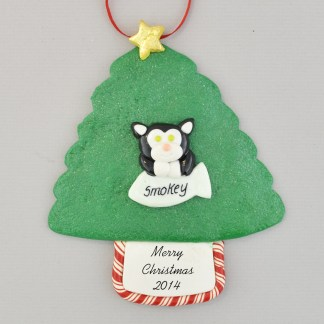 Cat on Tree Personalized Christmas Ornament