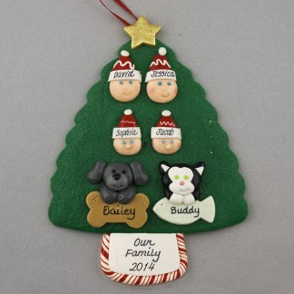 Our Family of 4 with 2 Pets Personalized Christmas Ornament