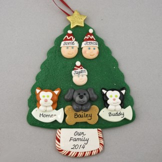 Our Family of 3 with 3 Pets Personalized Christmas Ornament