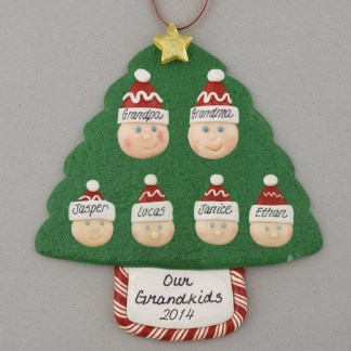 Grandparents of 4 Personalized Christmas Ornaments