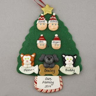 Our Family of 4 with 3 Pets Personalized Christmas Ornament