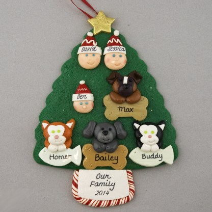 Our Family of 3 with 4 Pets Personalized Christmas Ornament