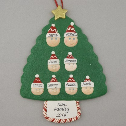 Family Tree of 8 Personalized Christmas Ornament