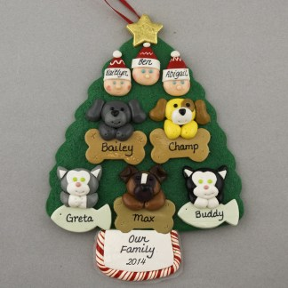 Our Family of 3 with 5 Pets Personalized Christmas Ornament