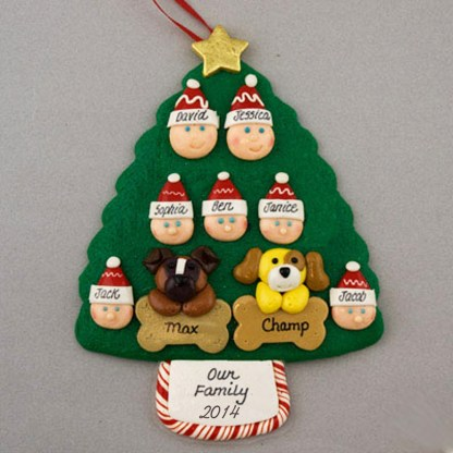 Our Family of 7 with 2 Pets Personalized Christmas Ornament