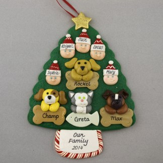 Our Family of 5 with 4 Pets Personalized Christmas Ornament