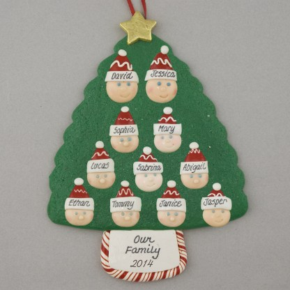 Family Tree of 11 Personalized Christmas Ornament