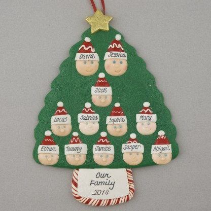 Family Tree of 12 Personalized Christmas Ornament