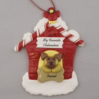Chihuahua in Dog House Personalized christmas Ornaments