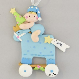 Blue Baby Boy Rocking Horse Personalized christmas Ornaments