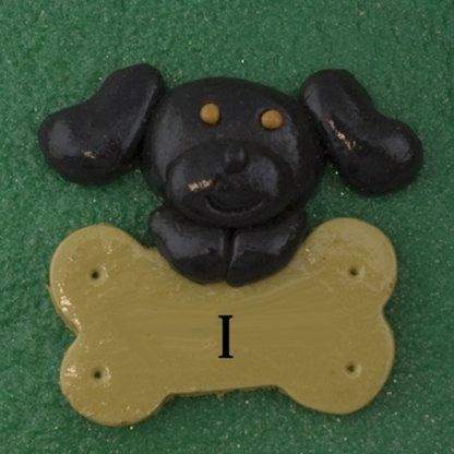 Pet dog black with bone personalized christmas ornaments