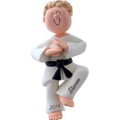 Karate Boy Personalized Christmas Ornaments Blonde Hair