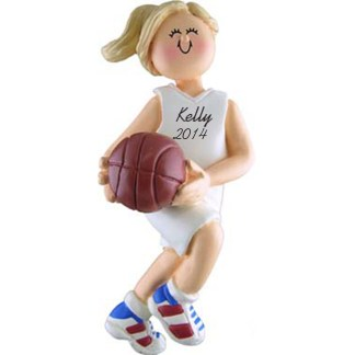 Basketball Girl Blonde Personalized Christmas Ornaments