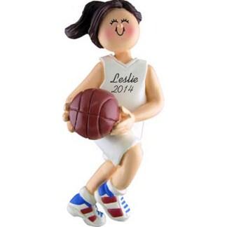 Basketball Girl Brunette Personalized christmas Ornaments