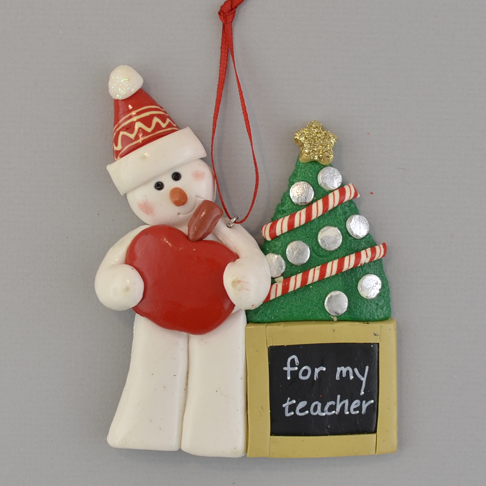 snowman holding apple for teacher personalized christmas ornaments