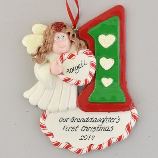 Granddaughter's First Christmas Angel Brunette Personalized Christmas Ornament