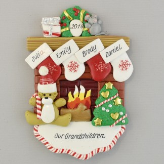 Our 4 Grandchildren Fireplace Personalized Christmas Ornament