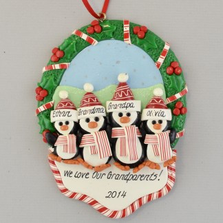 We Love Our Grandparents Penguin Personalized Christmas Ornament