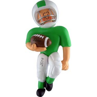 Football Player Green Uniform Personalized Christmas Ornament