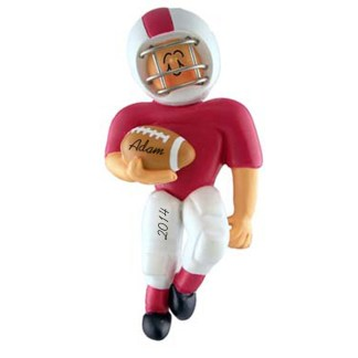 Football Player in Red Uniform Personalized Christmas Ornament