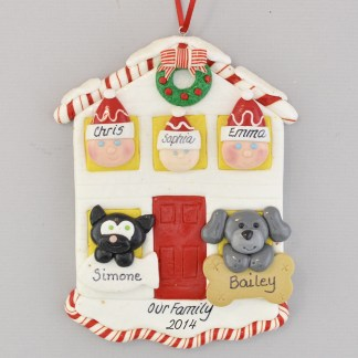 House for Family of Three with Two Pets Personalized Christmas Ornament