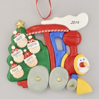 Little Train Engine for Family of Five Personalized Christmas Ornament